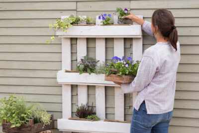 Lady putting plants into a recycled wooden pallet on a wall - get growing