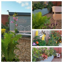I love my tiny garden<br /> The 1st I've ever owned<br /> I tend my tiny garden<br /> It's only 1 year old<br /> My 'growing' garden is only small<br /> A burst of colour behind a wall<br /> I enjoy my tiny garden<br /> Bees, bugs & all.<br /> Gail Russell <br />