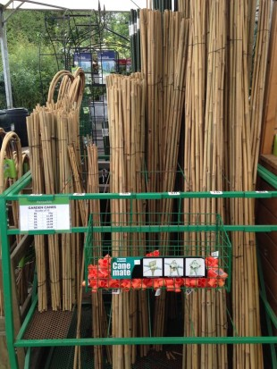 Garden canes and supports for runner beans sold at Perrywood