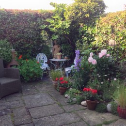 Peace and quiet, flowers, herbs and veg in my tiny courtyard garden... Susie Blythe
